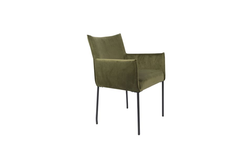 Dion-Sessel aus olivgrünem Samt