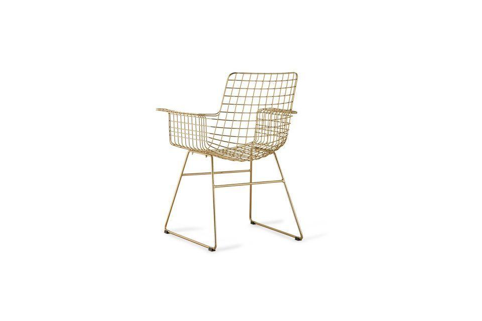 Dieser aus vergoldetem Messing gefertigte Sessel hat eine Struktur aus Vierkantgewinden