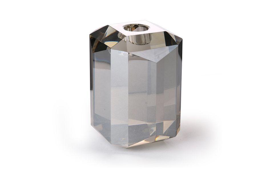 Glas-Kerzenhalter Kristallgrauer Diamant HK Living