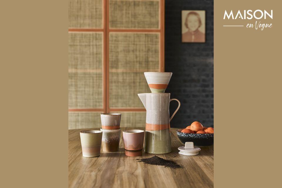 Keramische 70er Jahre Kaffeekanne