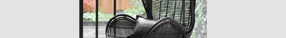 Materialbeschreibung Lizos Stuhl aus schwarzem Rattan