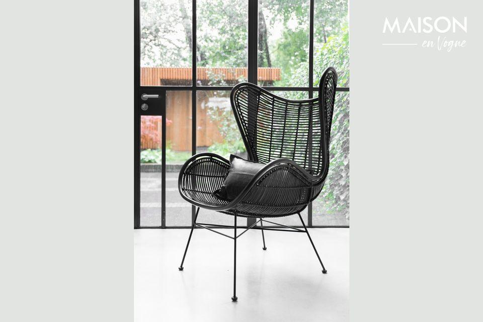 Lizos Stuhl aus schwarzem Rattan