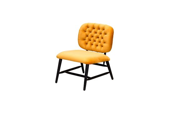 Ockerfarbener gepolsterter Sessel mit niedriger Rückenlehne Lempty