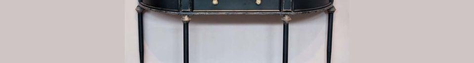 Materialbeschreibung Schwarze Konsole mit 2 Ebenen und Schublade Edouard