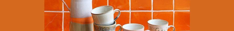 Materialbeschreibung Set mit 4 Americano-Keramikbechern 70er Jahre
