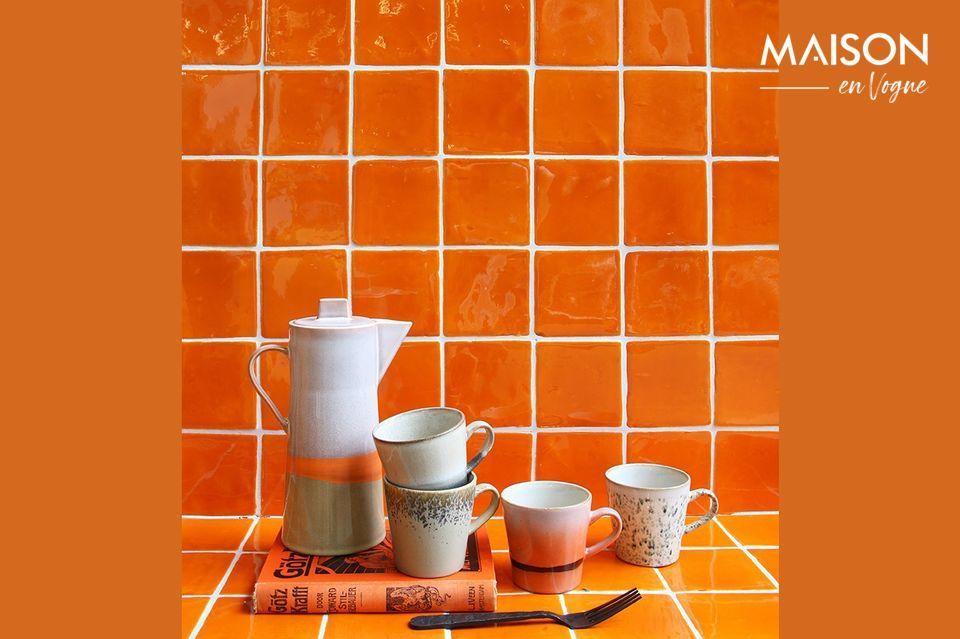 Set mit 4 Americano-Keramikbechern 70er Jahre