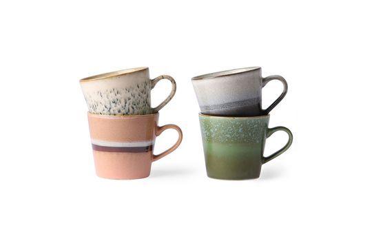 Set mit 4 Keramik-Cappuccino-Tassen 70er Jahre ohne jede Grenze