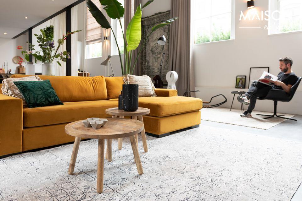 Sofa Fiep links in ockerfarbenem Samt