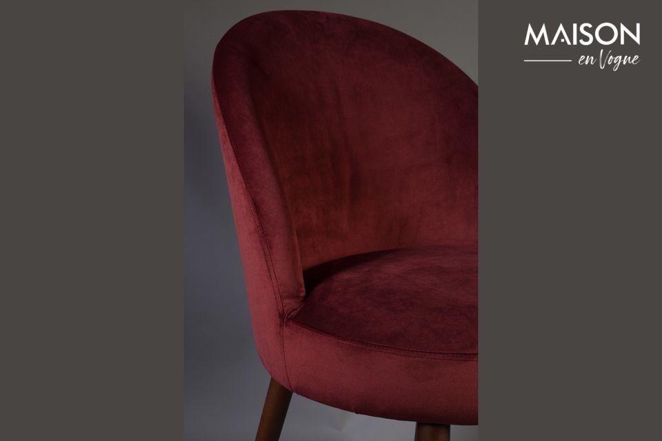 Stuhl Barbara aus rotem Samt - 5