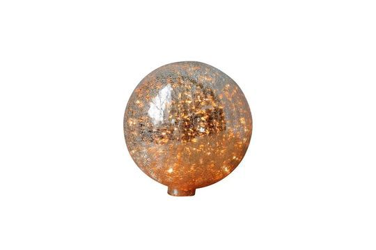 Tischlampe mit 20 cm gebrochener quecksilbriger Glaskugel und Kette