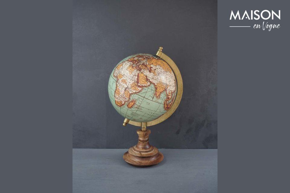 Weltkarte Riverie mit Vintage Holzbasis